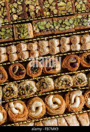 Syrian pastry, with pistachios and nuts - Stock Photo