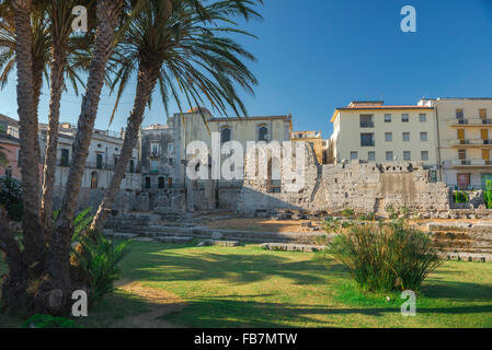 Syracuse Sicily Greek ruins, the remains of the ancient Greek temple of Apollo in the centre of Ortigia Island, - Stock Photo