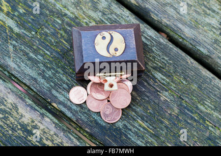 Treasure chest with euro coins - Stock Photo