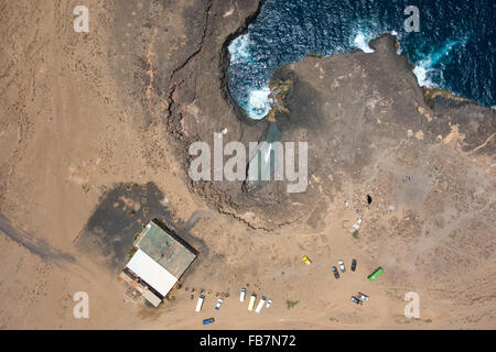Aerial view of Buracona  in sal Island Cape Verde - Cabo Verde - Stock Photo