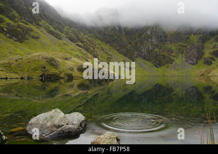 Ripples in a lake. The flat calm of Llyn Cau is broken by ripples, on a misty autumnal day. Snowdonia National Park, - Stock Photo