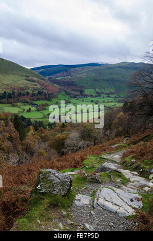 Autumn view from the Minfford Path, to the summit of Cadair Idris, Snowdonia National Park, Wales - Stock Photo