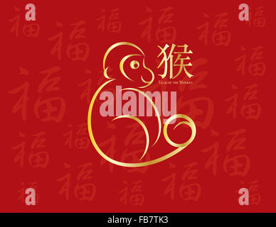chinese new year monkey 2016 line art with prosperity traditional text symbol on red background illustration