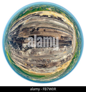 Aerial view, Borschemich is at the edge of the brown coal mining Garzweiler south of Juchen, fisheye image fisheyelens, - Stock Photo