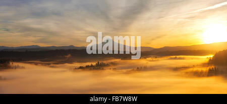 Sunrise Over Mt Hood View and Foggy Valley from Scenic Viewpoint in Sandy Oregon Panorama - Stock Photo