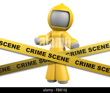 3d lady behind crime scene tape wearing biohazard suit.  Crime scene tape -- the whole shebang. Why so much trouble - Stock Photo