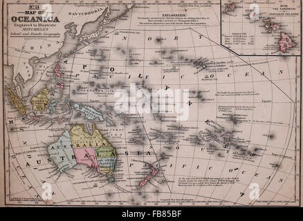 Map of Oceanica, circa 1861 - Stock Photo