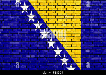 flag of Bosnia and Herzegovina painted on brick wall - Stock Photo