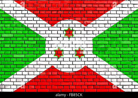 flag of Burundi painted on brick wall - Stock Photo