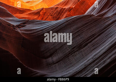 Sandstone formations in Upper Antelope Canyon, Slot Canyon, Page, Arizona, USA - Stock Photo