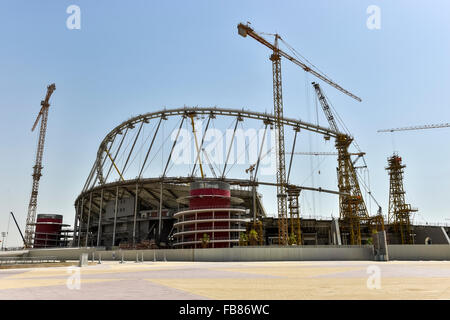 Construction site, Khalifa International Stadium, Doha, Qatar - Stock Photo