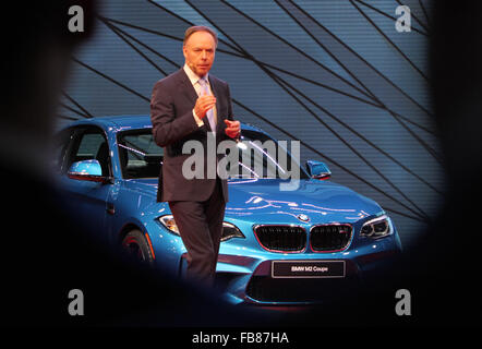 Detroit, USA. 11th January, 2016. BMW Group board member Ian Robertson presents the new M2 Coupe at the North American - Stock Photo