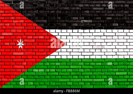 flag of Jordan painted on brick wall - Stock Photo