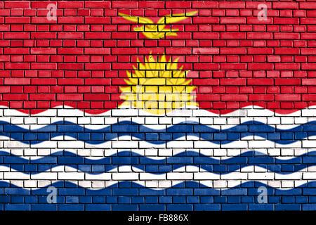 flag of Kiribati painted on brick wall - Stock Photo