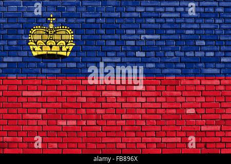 flag of Liechtenstein painted on brick wall - Stock Photo