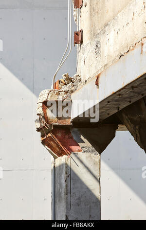 Detail of derelict concrete and steel joint. Long Museum West Bund, Shanghai, China. Architect: Atelier Deshaus, - Stock Photo