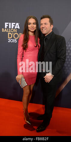 Lothar Matthaeus (R), former soccer player of Germany, and his wife Anastasia Klimko arrive for the FIFA Ballon d'Or Gala 2015 held at the Kongresshaus in Zurich, Switzerland, 11 January 2016. Photo: Patrick Seeger/dpa Stock Photo