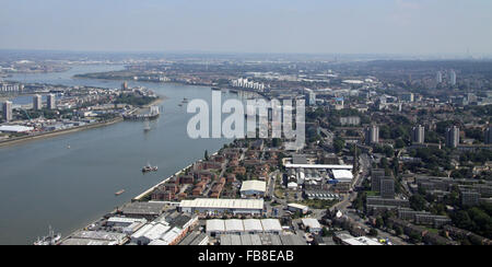 aerial view of Woolwich, SE18, East London with The River Thames, UK - Stock Photo