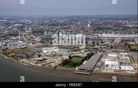 aerial view across TheThames towards Excel London & Gallions Point Marina, UK - Stock Photo