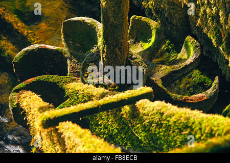 Wooden runners moss covered in old Mill in - Stock Photo