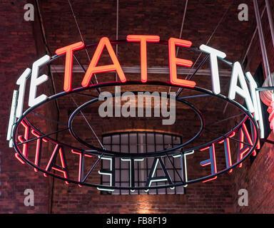 LIVERPOOL, UNITED KINGDOM - JANUARY 91, 2016 - Tate Liverpool Art Gallery sign at Albert Dock, Liverpool, Merseyside, - Stock Photo