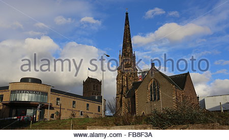 Overgate shopping centre Meadowside St Pauls Church Dundee Scotland  December 2015 - Stock Photo