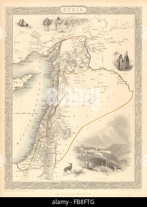 SYRIA': Levant Palestine Jordan Lebanon Israel Cyprus. TALLIS/RAPKIN, 1851 map - Stock Photo