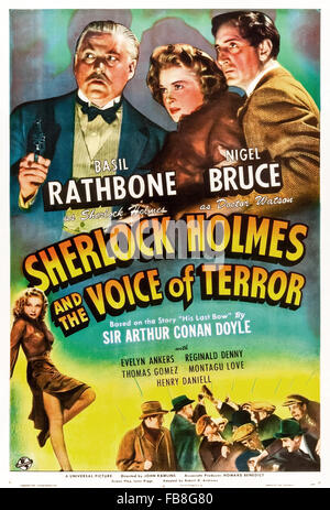 Poster for 'Sherlock Holmes and the Voice of Terror' 1942 film directed by John Rawlins and starring Basil Rathbone - Stock Photo