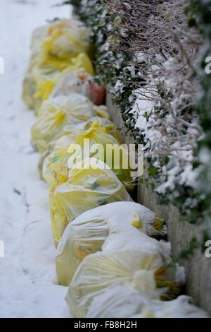Plastics, cans and polystyrene are collected in 'Gelbe Sack' yellow plastic bags in Germany, Germany, 07. January - Stock Photo