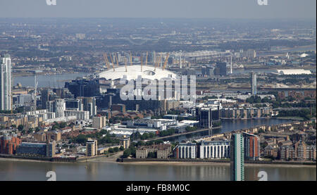 aerial view of Millwall Outer Dock in Docklands, East London, UK - Stock Photo