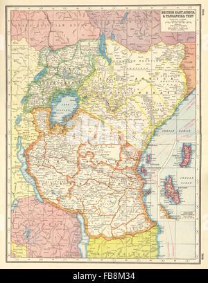 EAST AFRICA: British EA Tanganyika Terr.Kenya Tanzania Zanzibar Uganda, 1920 map - Stock Photo