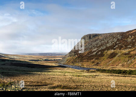 Falcon Clints and the River Tees From the Green Trod Below Cronkley Fell Upper Teesdale County Durham UK - Stock Photo