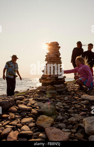 Sweden, Oland, Gronhogen, Picture of grandfather, mother and children (10-11), (6-7) - Stock Photo