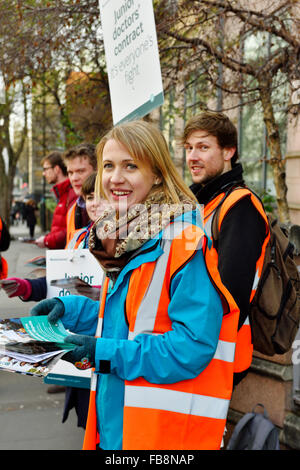 Bristol, England, UK 12 January 2016 Demonstration of Junior Doctors in strike with National Health Service (NHS) - Stock Photo