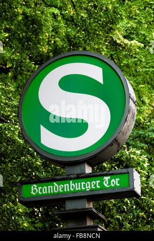 Unter den Linden Avenue, S-Bahn subway station entrance at Brandenburger Tor, Berlin, Brandenburg, Germany - Stock Photo