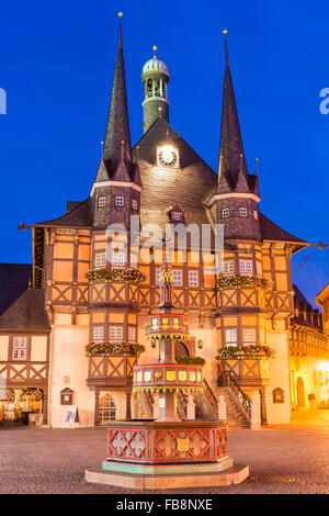 Market square and Town Hall at twilight, Wernigerode, Harz, Saxony-Anhalt, Germany - Stock Photo