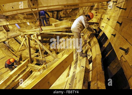 St. Petersburg, Russia. 12th Jan, 2016. Carpentry works at an assembly shop of a museum-ship, a replica of the Russian - Stock Photo