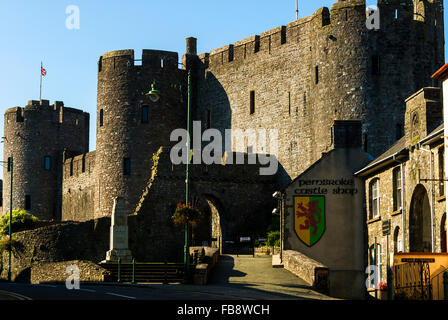 Entrance to Pembroke castle. Pembrokeshire fortress. - Stock Photo