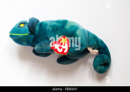 Iggy the ty-dye iguana ty beanie original baby soft cuddly toy isolated on white background - Stock Photo