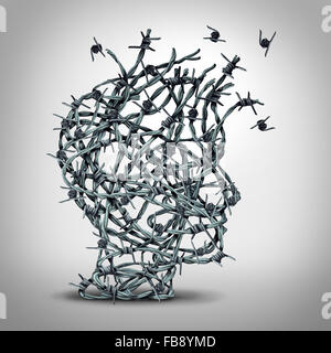 Anxiety solution and freedom from fear and escape from tortured thinking and depression concept as a group of tangled - Stock Photo