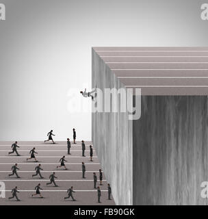 Upgrade business skill concept and career growth symbol as a businessman running on a vertical wall upward to achieve - Stock Photo