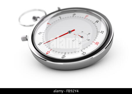 Chronograph with red needles over white background, blur effect. Concept of measurement or punctuality - Stock Photo