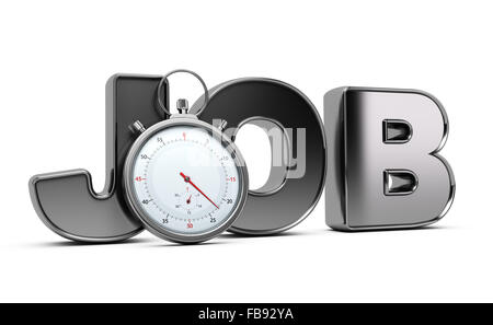 Word job with stopwatch over white background, 3D illustration of speed interviewing. - Stock Photo