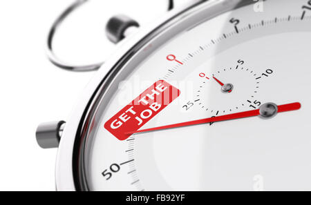 Stopwatch needle pointing the text get the job. Conceptual object over white background for illustration of speed - Stock Photo