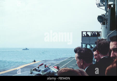 The Queen and Prince Charles watch on HMS Eagle in Weymouth Bay 1959 - Stock Photo