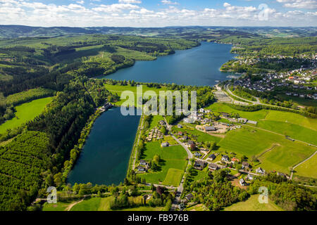 Aerial view, Sorpesee settled Weiher, Sundern, Sauerland, North Rhine-Westphalia, Germany, Europe, Aerial view, - Stock Photo