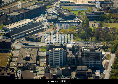 Aerial view, Krefeld Bayer Uerdingen, Duisburg, Ruhr area, Duisburg-North, North Rhine Westphalia, Germany, Europe, - Stock Photo