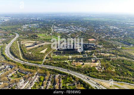 Aerial view, Landschaftspark Duisburg-Nord Emscherstraße, former steelworks, Duisburg, Ruhrgebiet, North Rhine Westphalia, - Stock Photo