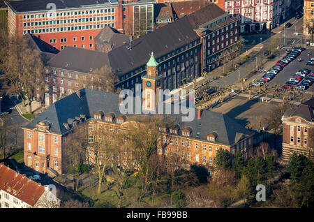 Aerial view, Town Hall Herne in the early spring, Herne, Ruhr area, North Rhine-Westphalia, Germany, Europe, Aerial - Stock Photo