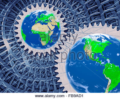 Concept of the earth being driven by the physics of the universe - Stock Photo